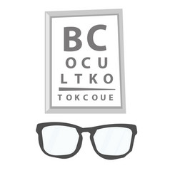 glasses and eye test chart vector image
