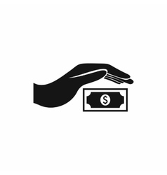 Hand protects dollar banknote icon simple style vector