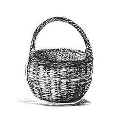 Hand sketch wicker basket vector