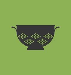 Kitchen colander strainer icon vector
