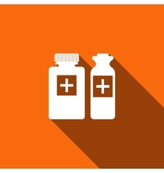 Medical bottles icon with long shadow vector