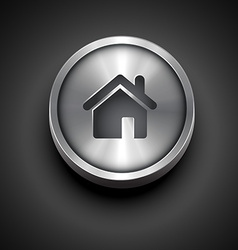 Metallic home icon vector