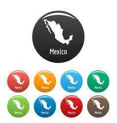 Mexico map in black set simple vector