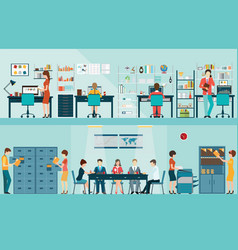 Office people with office desk vector