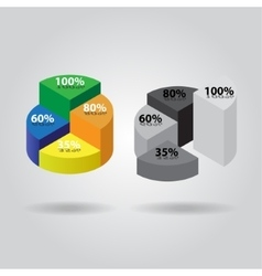 Pie chart with four columns vector