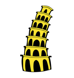 Pisa tower icon cartoon vector