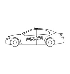 Police car icon in outline style isolated on white vector