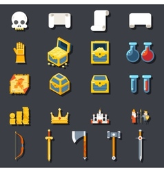 RPG Game Accessories Icons Set Scrolls Treasure vector image vector image