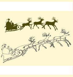 santas sleigh of deers outline and silhouette vector image vector image