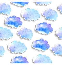 Seamless pattern watercolor clouds with shadows vector
