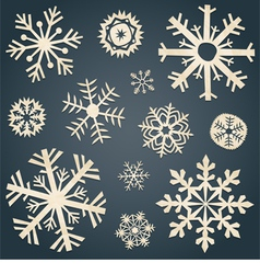 Set of snowflakes from old paper vector image vector image
