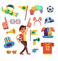 Soccer sports funs with tools to cheer team win vector