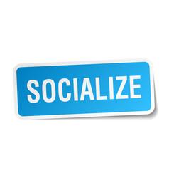 Socialize square sticker on white vector