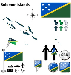Solomon Islands map vector image