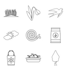 Spring period icons set outline style vector