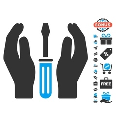 Tuning screwdriver care hands icon with free bonus vector