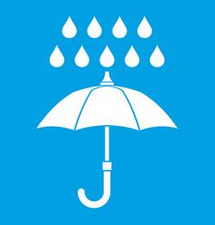 umbrella and rain icon white vector image