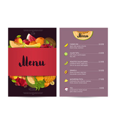 Vegetarian restaurant food menu design vector