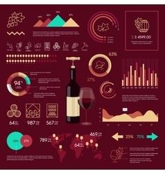 wine infographic on vinous background vector image