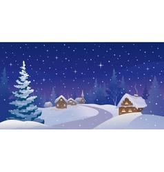 Winter night village vector image vector image