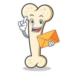 with envelope bone character cartoon mascot vector image vector image