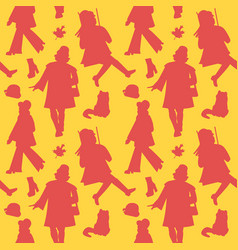 woman silhouette retro fashion seamless pattern vector image