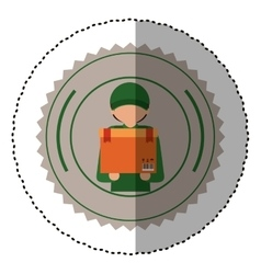 Worker inside seal stamp design vector