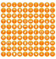 100 recreation icons set orange vector