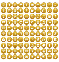 100 smart house icons set gold vector