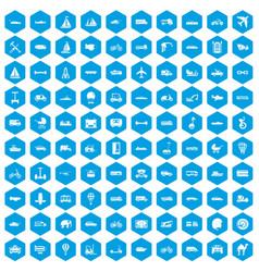 100 transport icons set blue vector image vector image