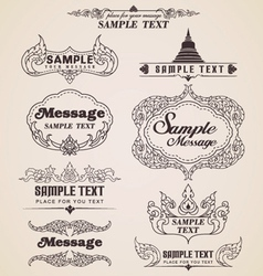 Thai vintage design elements and frames vector