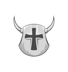 Combat helmet with cross and horns icon vector
