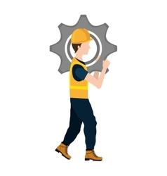 Avatar construction worker with a cogwheel vector