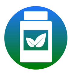 Supplements container sign  white icon in vector