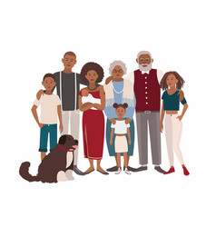 happy large black family portrait vector image