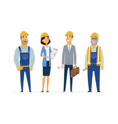 construction workers - modern flat composition vector image