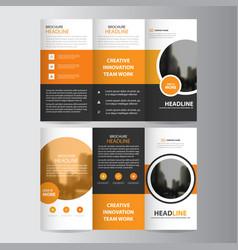 Orange circle business trifold leaflet brochure vector