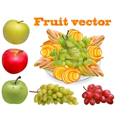Fruit chopped pear grape apple vector