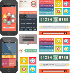 Ui flat design web elements components vector