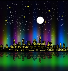 Night silhouette colourful vector