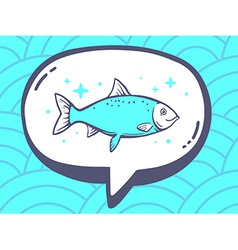 Speech bubble with icon of fish on blue p vector