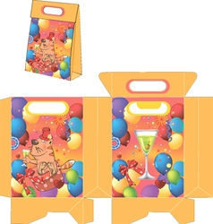 Cat and champagne handbags packages pattern vector