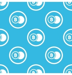 Bitcoin coin sign blue pattern vector