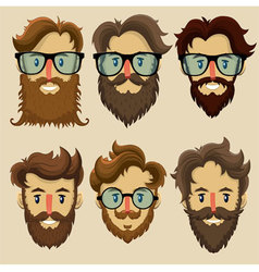 Hipster characters subculture retro hairstyle vector