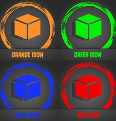 3d cube icon sign fashionable modern style in the vector