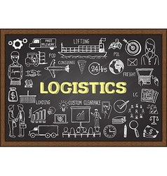 Logistics on chalkboard vector