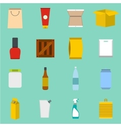 Packaging flat icons set vector
