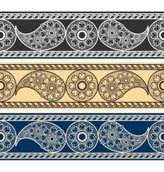 Paisley horizontal patterns vector