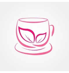 Pink cup of tea vector