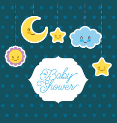 Baby shower card greeting cartoon cloud star sun vector